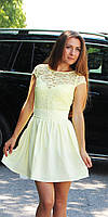 Женское платье с гипюровым верхом желтое, фото 1