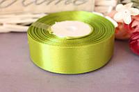 Лента атласная двухсторонняя 2.5 см травянисто-зеленого цвета оптом (рулоном), фото 1