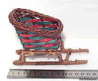 Саночки из лозы декоративные, 13,5 см., фото 1