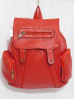 Рюкзак три кармана кож.зам красный, фото 1