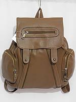 Рюкзак три кармана кож.зам хаки, фото 1