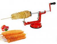 Овощерезка для спиральных чипсов. Машинка для спиральной нарезки картофеля и овощей Spiral Potato slicer