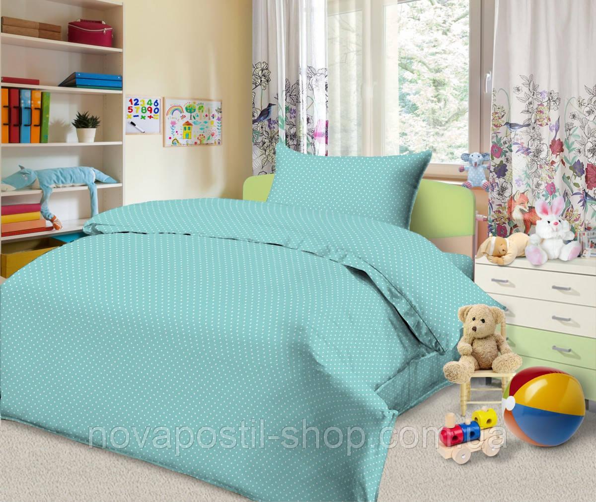 Ткань для детского постельного белья, бязь Горошек Бирюза