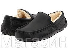 Мужские зимние мокасины UGG Ascot Leather Black (Угг Австралия) кожаные черные, фото 2