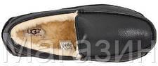 Мужские зимние мокасины UGG Ascot Leather Black (Угг Австралия) кожаные черные, фото 3