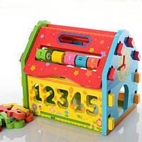 Домик сортер, теремок логическая деревянная игрушка