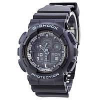 Часы  G-Shock - GA-100, стальной бокс, черные, black