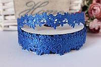 """Кружевная лента (тесьма) """"Розочка"""" синего цвета ширина 2 см, 20 ярдов оптом"""