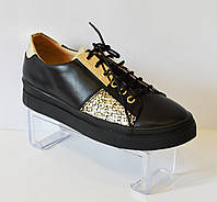 Туфли золотистые на шнурке Favi 009