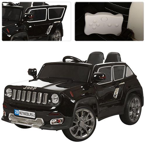 Детский электромобиль JEEP М 2766 EBLR-1: кожа, пульт 2.4G, EVA, 3-7км/ч - Черный- купить оптом