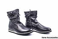 Ботинки женские кожаные Caroline (ботильоны на танкетке, байка)
