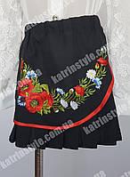 Юбка для девочек с красивой вышивкой черного цвета