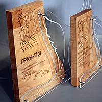 """Награда из дерева с акрилом  """"В кулисах души"""""""