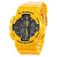 Часы  G-Shock - GA-100, стальной бокс, желтый с черным