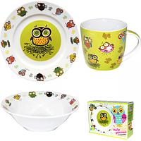 Набор детский 3пр. (тарелка-19см,чашка-300мл, салатник-400мл)