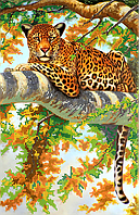 Схема для вышивки бисером POINT ART Дикая кошка, размер 25х39 см