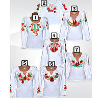 Белая блуза вышиванка для девочки, подростка, стрейч-хлопок, р.р.30-42