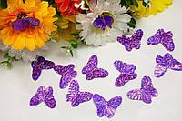 Паетки бабочки фиолетовая голограмма 3см*2.5см