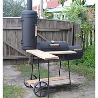 Коптильня горячего и холодного копчения с дубовым столом