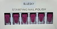 Набор лак-красок для стемпинга Bluesky STAMPING NAIL POLISH 6 цв (малиновый)