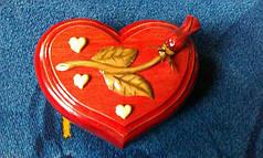 """Різьблена Шкатулка """" Серце з трояндою """", фото 3"""