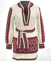 Женская вышиванка из льна Красный, Лен, Длинный, 60