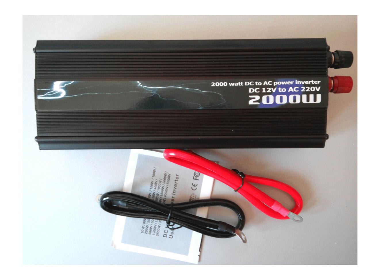 Авто инвертор 2000 W (Вт.) Автомобильный преобразователь 12 В - 220 В