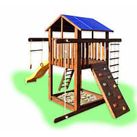 Игровая площадка домик с горкой и скалолазкой Babygrai-1