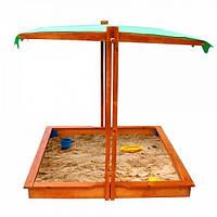 Детская песочница для дачи 22 с тентом