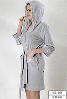 Трикотажный короткий халат с капюшоном на запах фирмы NUSA