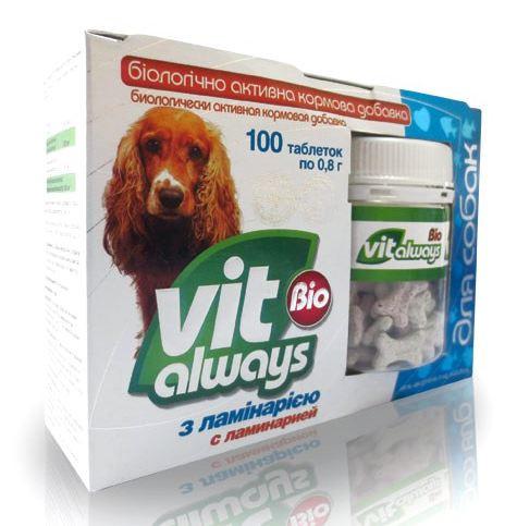 Виталвейс-био №100 банка с ламин.косточки для собак
