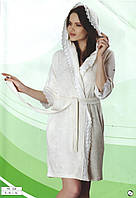 Халат короткий с капюшоном на запах с тонкой махры (Бамбук) фирмы NUSA