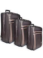 """Комплект чемоданов бизнес класс фирмы """"CCS"""" brown комплект 3в1 на 2-х колесах"""