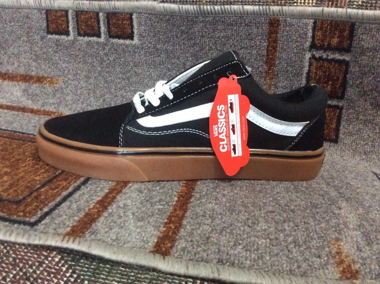 Кеды Vans Classic Old Skool Black черные на коричневой подошве реплика -  nikestep.com. ffaadba0b5117