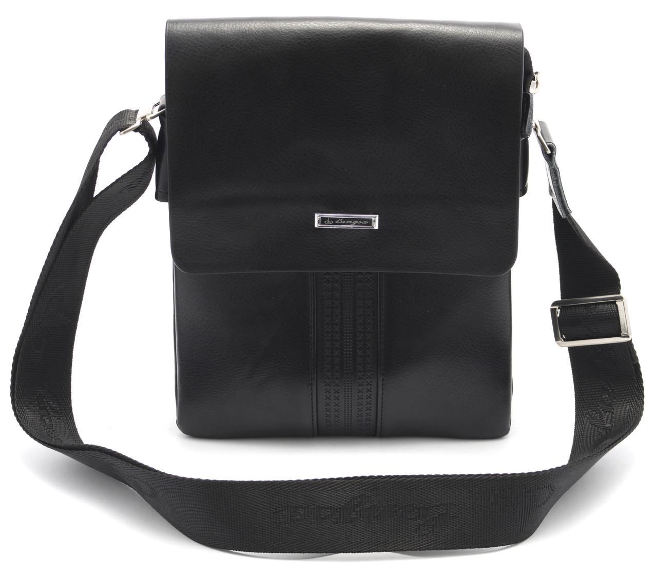 Стильная черная мужская сумка LANGSA art. 8932-2