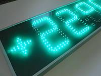 Часы термометр светодиодные зеленые с отображением даты и месяца. Яркость 4000мКд