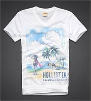 """Футболка мужская белая Hollister с принтом """"La Jolla Beach"""""""