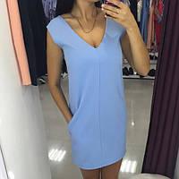 Платье миди с боковыми карманами (голубое, пудра, бутылочное , чорное)