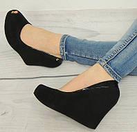 Туфли черные с открытым носком