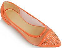 Летние яркие балетки оранжевые