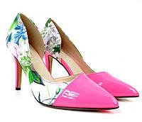 Летние розовые женские туфли на каблуке  размеры 36,37, фото 1