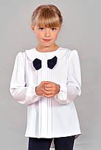 Красивая нарядная школьная блуза с длинным рукавом и бантом