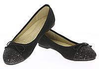 Замшевые черные балетки для женщин   размеры 36,38,40