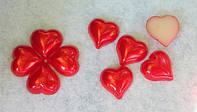 """Кабошон """"сердце перламутр"""" красный"""
