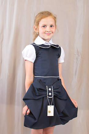 Детский школьный стильный сарафан Оля с бантом и пуговицами, синий , фото 2