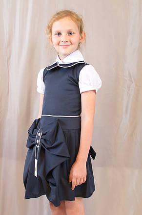 Детский школьный стильный сарафан Оля с бантом и пуговицами, синий , фото 3