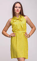 Женское Желтое летнее платье горох