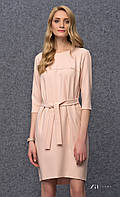 Женское трикотажное платье с поясом розового цвета. Модель Rosetta Zaps.