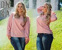 Женская блуза больших размеров с вставками гипюра ДГ759.1