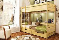 Кровать Дуэт тм Эстелла 80х190/200, №102 Бук натуральный (Щит), фасад+ящики из ДСП (Щит)